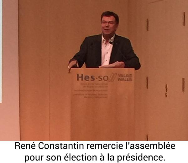 René Constantin remercie l'assemblée pour son élection à la présidence.